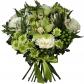 Роза белая 50см - 5, Орхидея цимбидиум - 2, Альстромерии - 3, Хризантема кустовая - 3, Гиперикум, Лента, Колба-пробирка, Фисташка