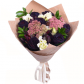 Роза черная - 7, Лизиантус - 4, Леукадендрон, Седум, Рускус, Упаковка (крафт, пленка матовая) , Лента